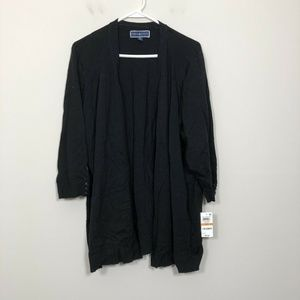 Karen Scott Size 3X Black Open Front Sweater